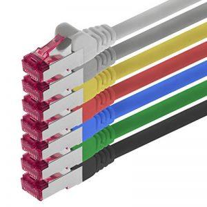 0,5m - 7 couleurs - 7 pièces - CAT6a Câble Ethernet Set - Câble Réseau RJ45 10000 Mo/s câble de Patch LAN Câble CAT 6a S-FTP PIMF 500 MHz sans halogène compatible avec CAT 5e / CAT 6 / CAT 7 de la marque 1aTTack.de image 0 produit