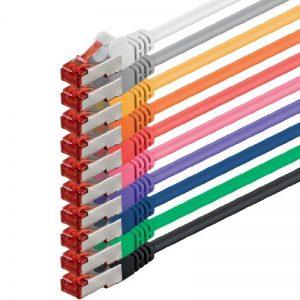 10m - 10 couleurs - 10 pièces - CAT6 Câble Ethernet Set - Câble Réseau RJ45 10/100 / 1000 Mo/s câble de Patch LAN Câble |CAT 6 S-FTP PIMF 250 MHz compatible avec CAT 5 / CAT 6a / CAT 7 de la marque 1aTTack.de image 0 produit