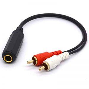 6,35mm vers RCA câble répartiteur, plaqué Or 6.35TRS Femelle vers Double RCA mâle Audio stéréo Adaptateur Plomb 25cm de la marque Tomost image 0 produit