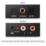 Adaptateur de convertisseur audio R/L avec câble optique Prozor DAC numérique SPDIF TosLink vers analogique, PS3 Xbox HD DVD PS4Sky HD Plasma Blu-ray Home Cinéma, amplificateurs AV, Apple TV, alimentation par câble USB de la marque Proster image 1 produit