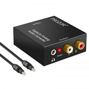 Adaptateur de convertisseur audio R/L avec câble optique Prozor DAC numérique SPDIF TosLink vers analogique, PS3 Xbox HD DVD PS4Sky HD Plasma Blu-ray Home Cinéma, amplificateurs AV, Apple TV, alimentation par câble USB de la marque Proster image 0 produit