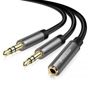Adaptateur Micro Casque, POSUGEAR Câble Audio Jack 3.5mm Femelle à Double 3.5mm Mâle Microphone Y Splitter Câble Plaqué Or Compatible avec PC Ordinateur, Haut-Parleur etc (Noir) de la marque POSUGEAR image 0 produit