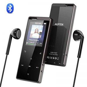 AGPTEK 16Go Hi-FI MP3 Bluetooth 4.0 en Métal, Lecteur Musique Réduction de Bruit Baladeur de Bouton Tactile avec Podomètre, Enregistrement, Radio FM et Trou de Cordon, Soutient Carte SD 128Go-X15 Noir de la marque AGPTEK image 0 produit