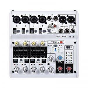 ammoon Console de Mixage Audio Mixeur Numérique 8 Canaux AM-6R Carte Son Alimentation de 48V Intégrée avec Adaptateur Secteur Câbles USB de la marque ammoon image 0 produit