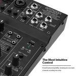ammoon Console de Mixage Table de Mixage 4 Canaux Mixeur Audio Numérique avec EQ 2 Bandes Intégrées Alimentation Fantôme 48V et USB 5V pour Enregistrement en Studio DJ Karaoké de la marque ammoon image 3 produit