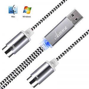 Asmuse Cable MIDI USB Bright LED Convertisseur d'interface pour Instruments de Musique électriques Clavier Piano électrique à PC Mac Portable 5 PIN Connecteur'2 en 1' d'entrée-sortie Cable (1,9 m) de la marque Asmsue image 0 produit