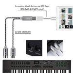 Asmuse MIDI Câble d'Interface USB Configuration automatique du convertisseur MIDI avec LED claire pour Clavier d'Instrument électrique Piano à PC Mac Windows 5 Broches IN-OUT 5,24 pieds(1,9m) Noir de la marque Asmsue image 3 produit