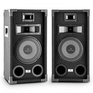 """auna PA-800 Fullrange PA Paire d'enceintes haut parleur sono (8"""" Subwoofer 800W max, 400 W RMS, systéme 3 voies, langhub ventilés, push Terminals) - noir de la marque Auna image 0 produit"""