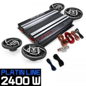 AUNA Platin Line 400 - Set Tuning 4.0 - Pack HiFi Complet : Ampli, Enceintes et câbles (3 Voies) - Acier Techno de la marque Auna image 0 produit