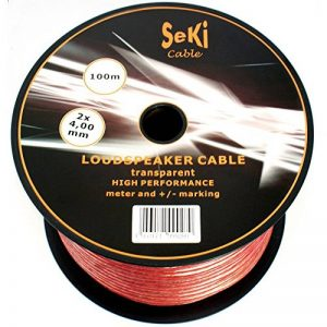 Bobine de câble de haut-parleur 2x 4,0mm²–Transparent–100m–CCA–Câble audio–Box Câble de la marque Seki image 0 produit