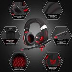 Casque Gaming PS4, ONIKUMA Anti Bruit Micro Casque Gamer avec Rouge LED Lampe pour PS4 Xbox One PC Mac Nintendo Switch Smartphone Laptop/Surround 7.1 virtuel /Arceau Réglable /Drivers de 50mm de la marque ESEYE image 1 produit