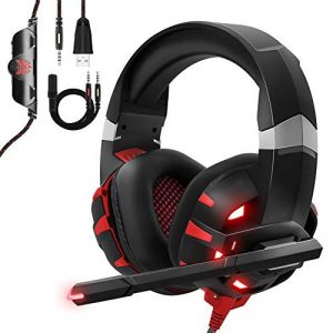 Casque Gaming PS4, ONIKUMA Anti Bruit Micro Casque Gamer avec Rouge LED Lampe pour PS4 Xbox One PC Mac Nintendo Switch Smartphone Laptop/Surround 7.1 virtuel /Arceau Réglable /Drivers de 50mm de la marque ESEYE image 0 produit