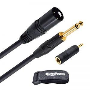 Câble Adaptateur MUTEC Power 6.35mm Male vers Sortie XLR Male à 3 Broches - avec Adaptateur 6.35mm Femelle vers 3.5mm Male - 0,5m de la marque MutecPower image 0 produit