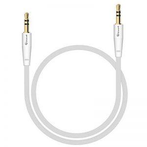 Câble audio stéréo - Connecteurs Jack 3,5 mm Mâles - Cordon PVC souple - Longueur 1m - Couleur : blanc de la marque Act image 0 produit