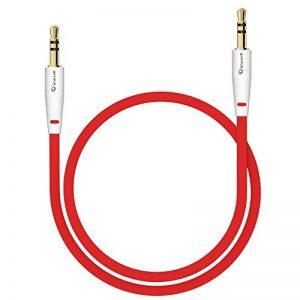 Câble audio stéréo - Connecteurs Jack 3,5 mm Mâles - Cordon PVC souple - Longueur 1m - Couleur : rouge de la marque Act image 0 produit