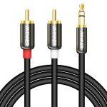 Câble audio stéréo Y Awinner - Prise mâle RCA vers 2RCA - Plaqué or à double blindage de 3,5mm 1 m de la marque AWINNER image 1 produit