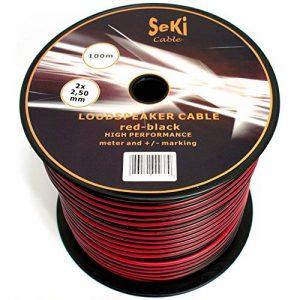 Câble de haut-parleur 2x 2,5mm²–Rouge/Noir–Bobine 100m–CCA–Câble audio–Box Câble de la marque Seki image 0 produit