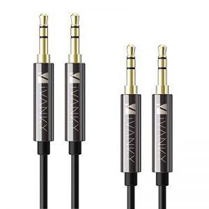 Câble Jack 3.5mm [1.2m / Lot de 2] IVANKY - Garantie à Vie/Qualité Sonore HiFi - Câble Auxiliaire Audio Stéréo 3.5 Mâle Mâle pour iPhone, iPod, iPad, Voiture, Casque, MP3, Samsung, Sony et plus - Noir de la marque IVANKY image 0 produit