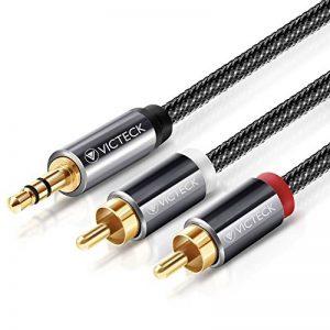 Câble RCA Jack Audio 2M, VICTECK Nylon Tressé Jack Stéréo 3.5mm Mâle vers 2 RCA Mâle Y Auxiliaire Audio Stéréo Câble- Plaqués Or 2M de la marque VICTECK image 0 produit