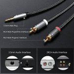 Câble RCA Jack Audio, Victeck Nylon Tressé Jack Stéréo 3.5mm Mâle vers 2 RCA Mâle Y Auxiliaire Audio Stéréo Câble- Plaqués Or (5M) de la marque VICTECK image 2 produit