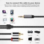 Câble RCA Jack Audio, Victeck Nylon Tressé Jack Stéréo 3.5mm Mâle vers 2 RCA Mâle Y Auxiliaire Audio Stéréo Câble- Plaqués Or (5M) de la marque VICTECK image 3 produit