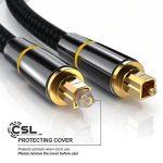 CSL - 5m (mètres) Câble Toslink HQ Platinum (optique/numérique) | Connecteur Toslink | Fibre optique | Connecteur HQ en métal avec contacts plaqués d'or | Home Entertainment/HiFi / consoles de la marque CSL-Computer image 2 produit
