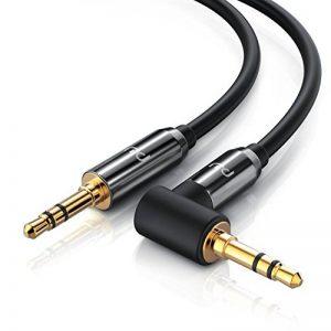 CSL-Computer 1,0m Câble Jack Audio | Câble Stéréo Auxiliaire | Connecteur métallique Mâle vers Mâle 90 Degrés | 2 x Prise Jack Audio 3,5 mm (3 pôles) | Série HQ Premium | Noir de la marque CSL-Computer image 0 produit