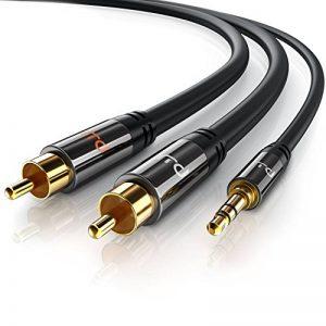 CSL-Computer Primewire - 5m HQ 3,5mm Stéréo Jack vers RCA Y Audio Câble | Câble 1 x Jack 3.5mm mâle vers 2X RCA mâle | Connecteur entièrement métallique sur Mesure | Série HQ Premium de la marque CSL-Computer image 0 produit