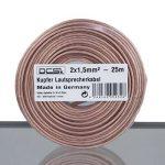 DCSk - 2 x 1,5 mm² - 25m - Câble d'enceinte - Haut-parleurs - cuivre Pur - Transparent - 25 m de la marque DCSk image 1 produit