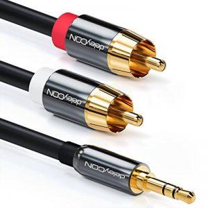 deleyCON 15m câble jack Cinch 3,5mm Jack vers Cinch RCA Stéréo Câble audio 1x prise jack sur 2x fiche RCA Cinch connecteurs métalliques - Noir de la marque deleyCON image 0 produit