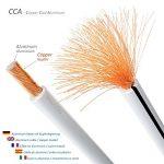 deleyCON 50m Cable pour Haut-Parleur 2X 2,5mm² - CCA Aluminium Revêtu de Cuivre Brins 2x50x0,25mm Marque de Polarité - Blanc de la marque deleyCON image 1 produit