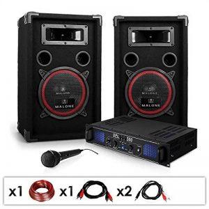 """DJ14 - Set de sono DJ avec ampli, 2 enceintes, micro et cablage (haut-parleurs 8"""", 2 x 200W RMS, montage rack) de la marque Electronic-Star image 0 produit"""