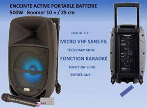 """Enceinte Active Sono Autonome Portable Boomer 10"""" 500W LED INTÉGRÉES USB Micro SD Bluetooth Micro sans Fil VHF Fonction KARAOKÉ ENTRÉES AUX/Micro par Jack 6.35 TÉLÉCOMMANDE Gamme INTERMÉDIAIRE de la marque PARTY SOUND image 0 produit"""