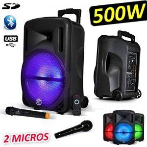 "Enceinte mobile Sono DJ PA Karaoké 500W 12"" LED USB-BT-SD- PC + 2 Micros + Effet LED RVB sur Boomer de la marque MyDJ image 0 produit"