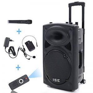 """Enceinte sono portable 12""""/30 cm 700W à LED RVB 12 VHF - Haut parleur avec micro sans fil et micro fil et lecteur MP3 (USB SD, chassis ABS, batterie longue durée) de la marque Novonova image 0 produit"""