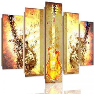 Feeby. Tableau multi panneaux - 5 parties - Décoration murale, Image imprimée, Deco Panel, Type A, 100x70 cm, GUITARES, INSTRUMENTS, MUSIQUE, MODERNE, MARRON de la marque Feeby image 0 produit