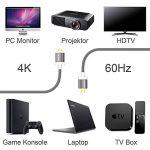 K42 Câble HDMI 2.0 Haut de Gamme 4K 2160p Vidéo à 60Hz HDR UHD Ultra-HD 3D 18Gbit/s Ethernet 3m de Long pour TV Blu-Ray-Players Playstation Xbox AV-Receiver de la marque TUPower image 4 produit