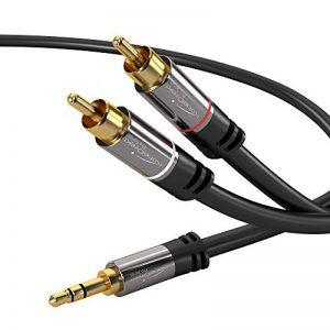 KabelDirekt 2m Câble Y 3.5mm Stéréo Jack vers 2x RCA (3.5mm Jack mâle > 2 RCA mâle, adaptateur jack rca) PRO Series de la marque KabelDirekt image 0 produit