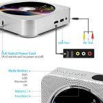 Lecteur CD Portable, Mur Montable Lecteur DVD/CD Bluetooth Mural Bluetooth avec Télécommande Full-HD 1080P Haut-Parleur Hi-FI intégré Radio FM, Prise AV de 3,5 mm, Port USB et HDMI (Blanc) de la marque VICELEC image 2 produit