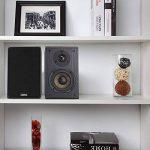 LONPOO Passive Bookshelf Haut-parleur, Hi-Fi Enceintes bibliotheques 75W*2 en classique avec tweeter woofer en fibre de carbone de 4'' et tweeter à dôme en soie de 0,75 '', Paire (Grain de bois noir) de la marque LONPOO image 2 produit