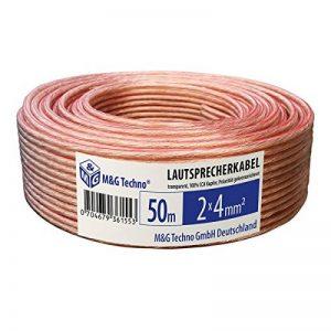 M G Techno & Â Allemagne CCA Câble de haut-Parleur 100% cuivre boîtes TRANSPARENT 50 M Câble AUDIO - 2 x 4 mmâ ² de la marque M&G Techno® image 0 produit