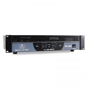Malone DX1200 Ampli Sono Amplificateur PA (2 x 600W à 4 Ohms, 2 x 400W à 8 ohms, 1200W de Puissance pontée sous 8 ohms, bridgeable pour Fonctionnement 1/2 canaux) de la marque Malone image 0 produit