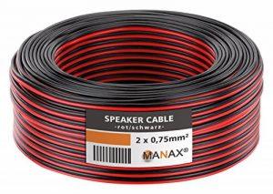 MANAX SC2075RB-10 câble de Haut-Parleur 2x0.75 mm² CCA (câble de Haut-Parleur/câble Audio), Anneau 10 m, Rouge/Noir de la marque MANAX image 0 produit