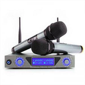 Microphone sans Fil Système UHF Moreslan Micro sans Fils Professionel 1 Récepteur + 2 Micro Portable à Main HF Écran LCD Micro Distance Double Câble 2 Canaux pour Karaoké Fête Réunion Conférence DJ de la marque Moreslan image 0 produit