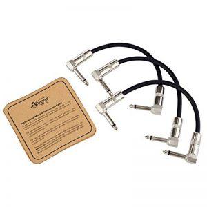 Mugig Câble pour Pédales d'effet Guitare Jack Coudé 99% Blindage 6.35mm Mâle à Mâle Angle Droite Silencieux (Lot de 3 x 15cm) de la marque Mugig image 0 produit