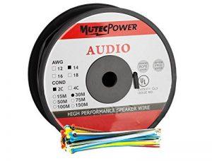 MutecPower 30m Cable Haut-Parleur 2 x 2.5mm (14 AWG) - UTILISABLE A L'Exterieur - pour ENFOUISSEMENT Direct - avec Protection Contre Les UV - Resistant A L'Eau – 30 mètres avec 50 Attaches câbles de la marque MutecPower image 0 produit