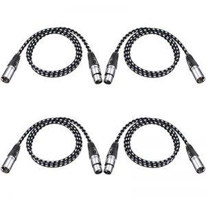 Neewer 4 Packs XLR DMX Câbles avec 3 Broches Mâle à Femelle 100 centimètres pour LED Lumières de Scène, Mélangeurs, Préamplificateurs, Microphones et Système de Haut-Parleurs (Noir et Blanc) de la marque Neewer image 0 produit