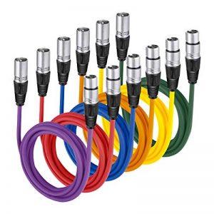 Neewer 6 Pièces 6,5 pieds/2m Câble pour Microphone XLR Male à XLR Femelle de Peau en Caoutchouc Cordon de Serpent Equilibré de 6 Couleurs(Vert Bleu Violet Rouge Jaune et Orange) de la marque Neewer image 0 produit
