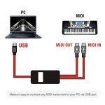 OIBETECH Câble pour interface USB et MIDI - Professionnel - Port USB vers ports MIDI d'entrée et de sortie - Convertisseur - Pour ordinateurs portables Mac et PC - 2m MIDI Cable Red de la marque OIBTECH image 1 produit