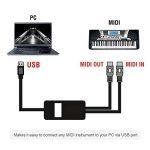 OIBETECH Câble pour interface USB et MIDI - Professionnel - Port USB vers ports MIDI d'entrée et de sortie - Convertisseur - Pour ordinateurs portables Mac et PC - 2m MIDI Cable Black de la marque OIBTECH image 1 produit